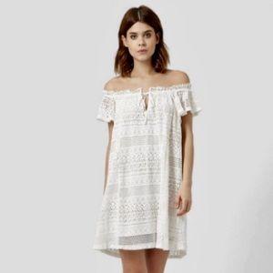 Topshop Lace Off the Shoulder Dress